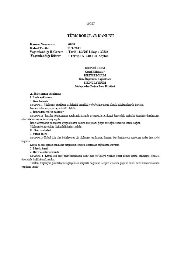 Borçlar Hukuku Ders Notu Mevzuat PDF