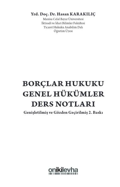 BORÇLAR HUKUKU GENEL HÜKÜMLER DERS NOTLARI PDF