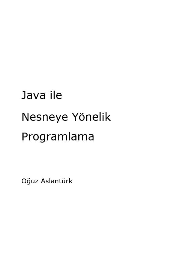 Java ile Nesneye Yönelik Programlama