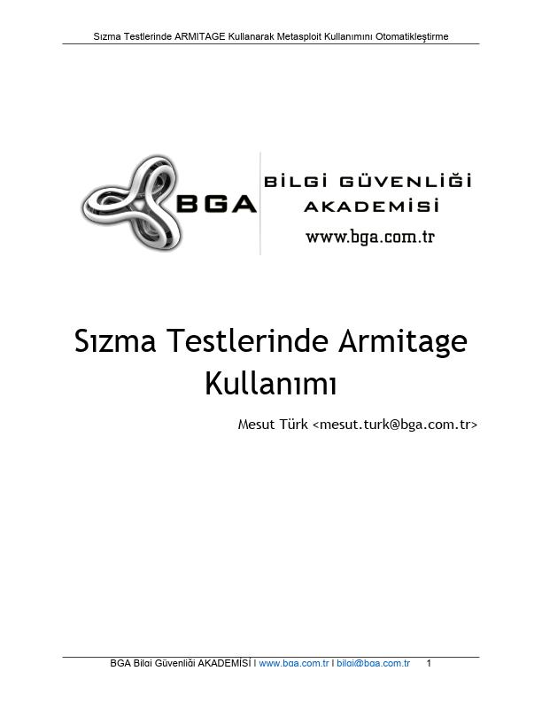 Sızma Testlerinde Armitage Kullanımı - BGA