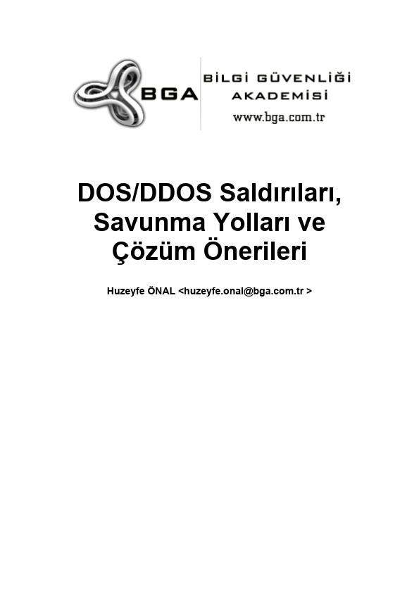 DoS DDoS Saldırıları ve Korunma Yöntemleri Kitabı - BGA