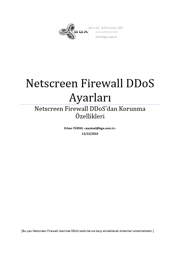 Netscreen Firewallarda DDoS Ayarları