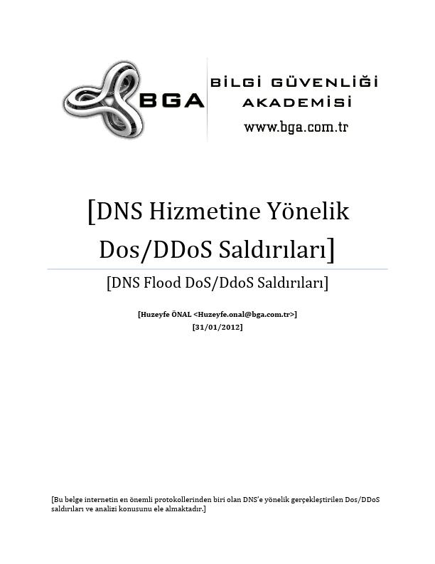 DNS Hizmetine Yönetlik DoS DDoS Saldırıları