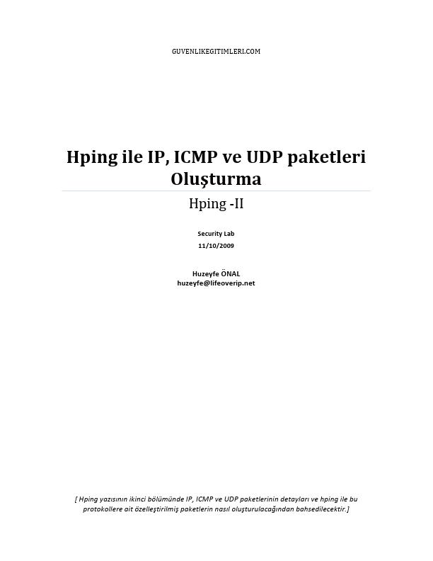 Hping ile IP-ICMP ve UDP Paketleri Oluşturma