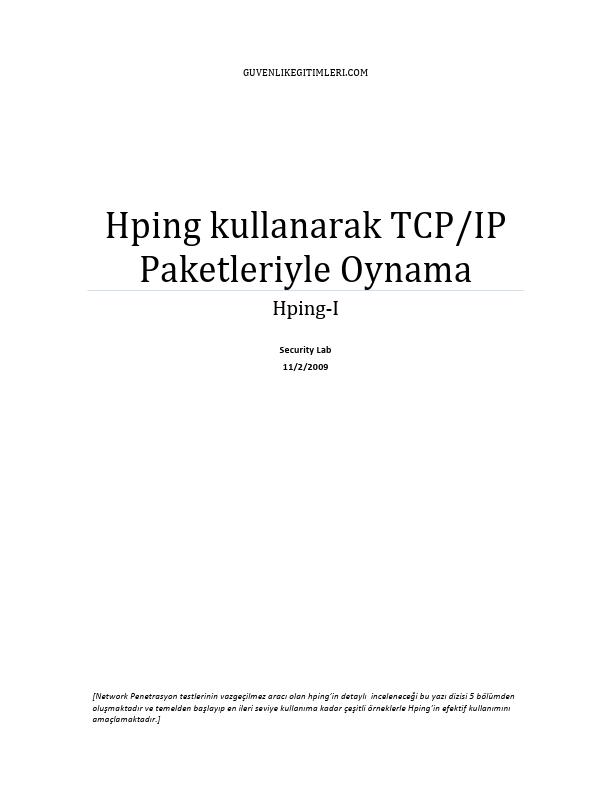 Hping Kullanarak TCP-IP Paketleriyle Oynama