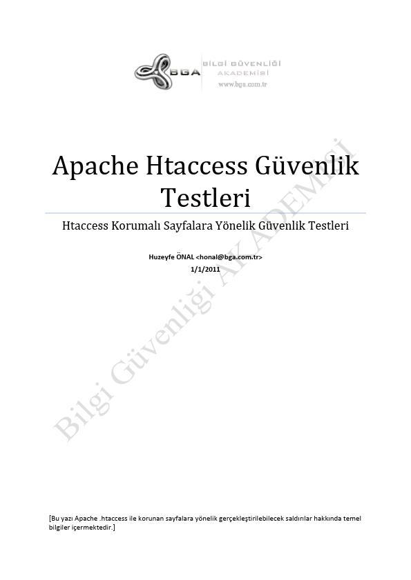 Apache Htaccess Güvenlik Testleri