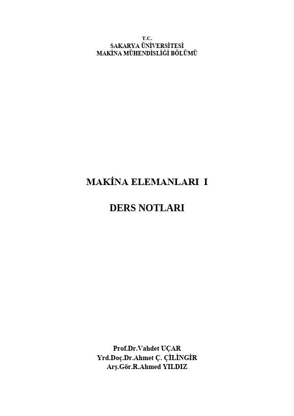 Makine Elemanları Ders Notları PDF