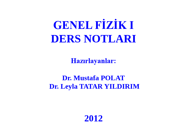 Fizik-I Ders Notları PDF