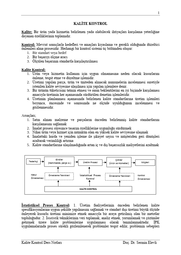 Kalite Kontrol Ders Notları PDF