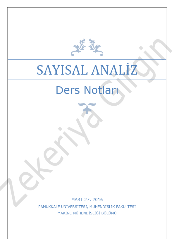 Sayısal Analiz Ders Notları PDF