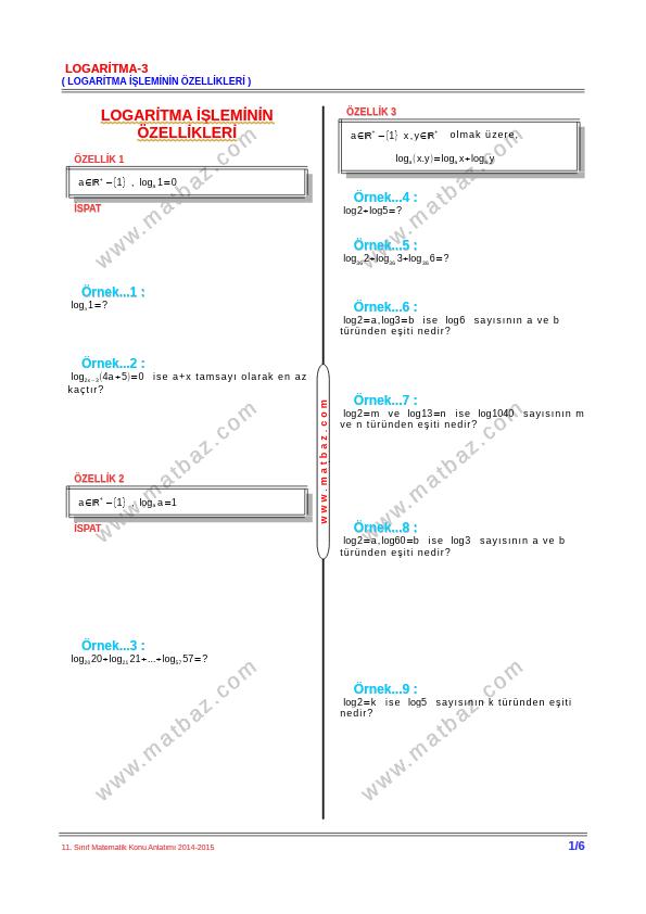 Logaritma İşleminin Özellikleri Ders Notu PDF