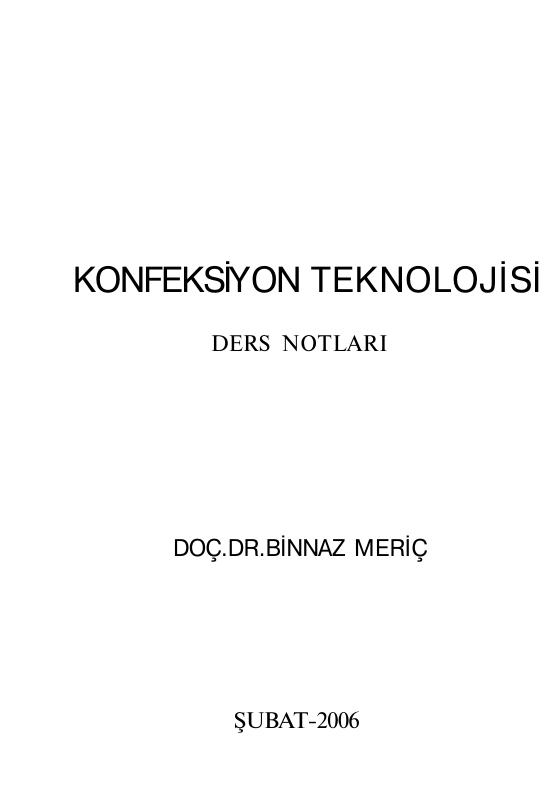 Konfeksiyon Teknolojisi Ders Notu PDF