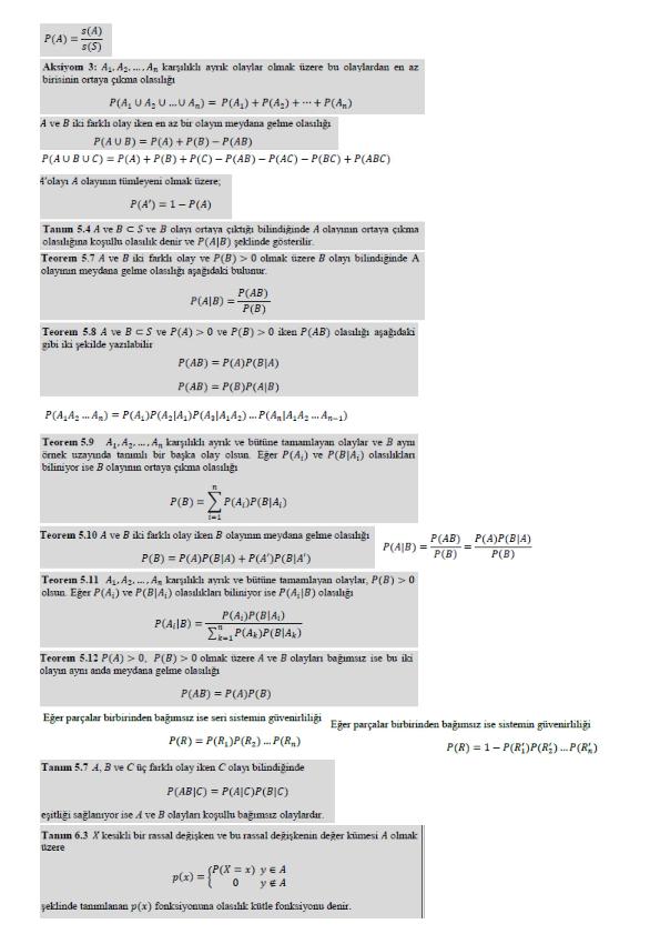 Olasılık Ve İstatistik Vize Formül Kağıdı