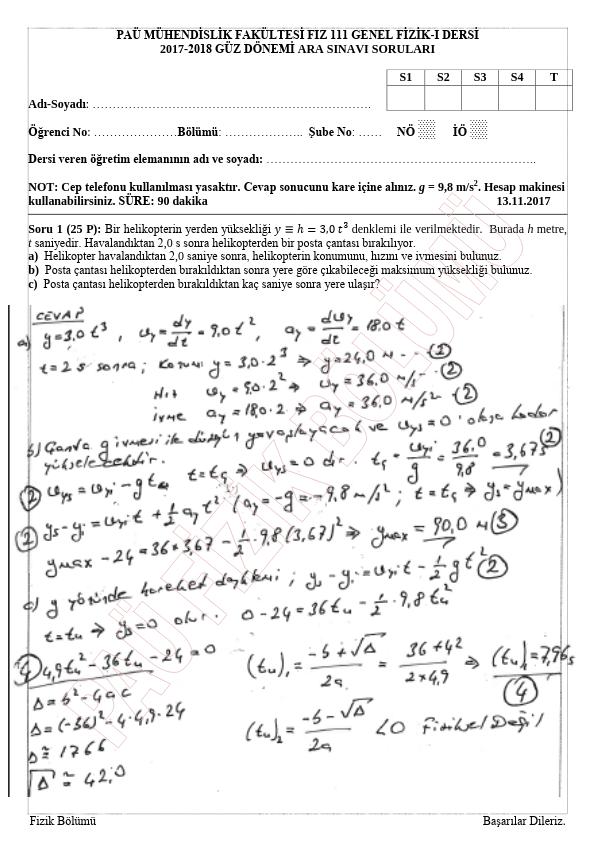 Genel Fizik 1 - 2017-2018 Güz Dönemi Vize Sınavı Çıkmış Soruları - Zümre 1