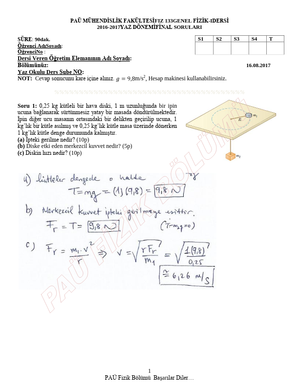 Genel Fizik 1 Final Yaz Okulu Çıkmış Sorular 2016-2017