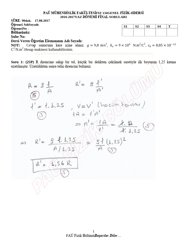 Genel Fizik 2 Final Yaz Okulu Çıkmış Sorular 2016-2017