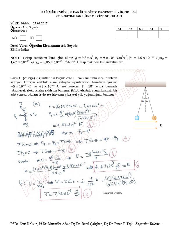 Genel Fizik 2 Vize Bahar Çıkmış Sorular 2016-2017