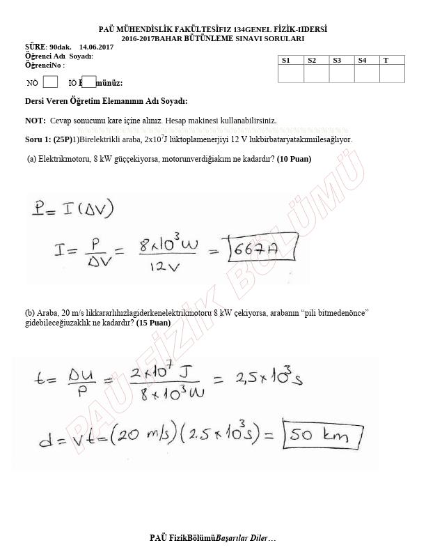Genel Fizik 2 Bütünleme Sınavı Çıkmış Sorular 2016-2017