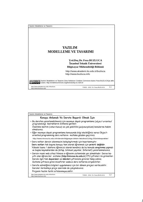 Yazılım Modelleme Ve Tasarımı Ders Notları