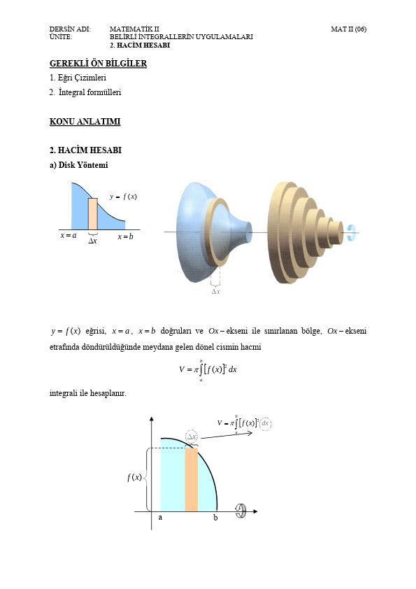 Belirli integralde alan ve hacim hesabı ders notu