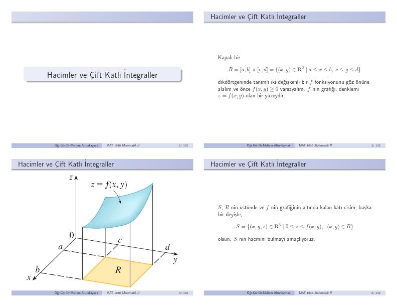 İntegralde hacim hesabı ve çift katlı integral konu anlatımı
