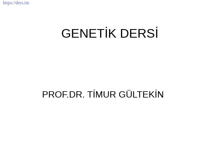 Genetik Ders Notları - 5
