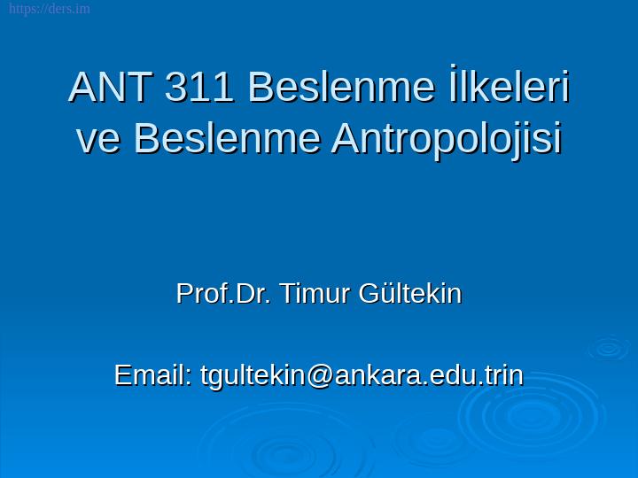 Beslenme Antropolojisi Ders Notları - 1