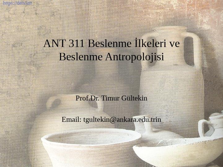 Beslenme Antropolojisi Ders Notları - 7