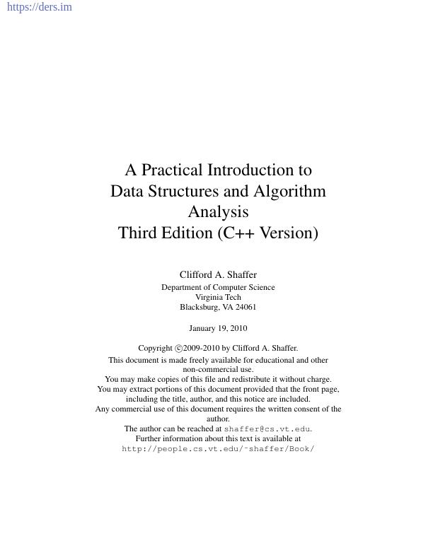 Veri Yapılarına ve Algoritma Analizine Pratik Bir Giriş C ++