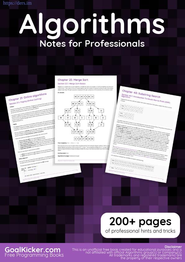 Profesyoneller için Algoritmalar Notları