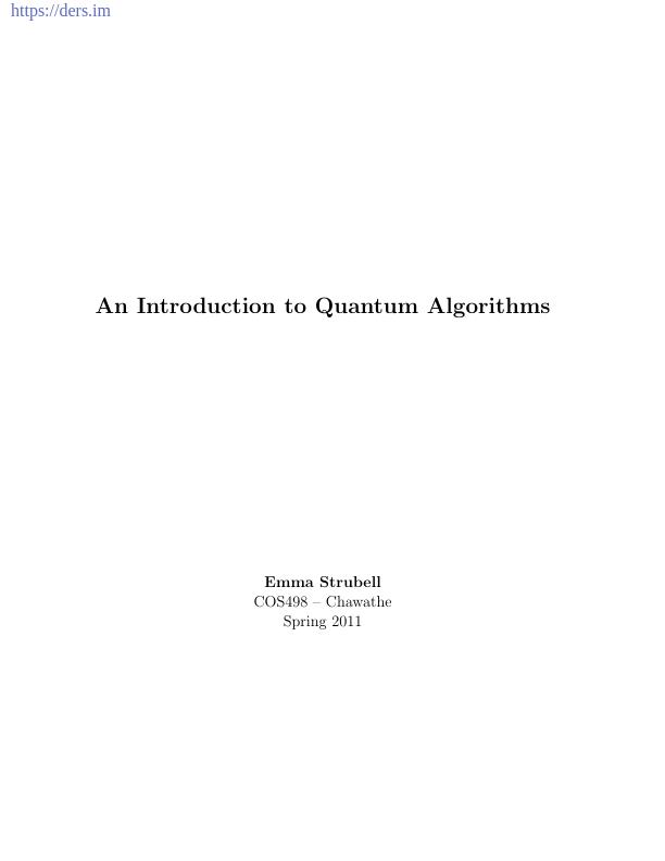 Kuantum Algoritmalarına Giriş