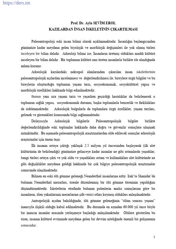 PALEOANTROPOLOJİ Yöntem ve Teknikler Ders Notları - 1