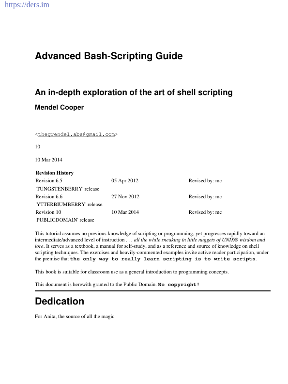 Gelişmiş Bash-Scripting Kılavuzu