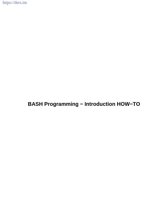 Bash Script Programlamaya Giriş
