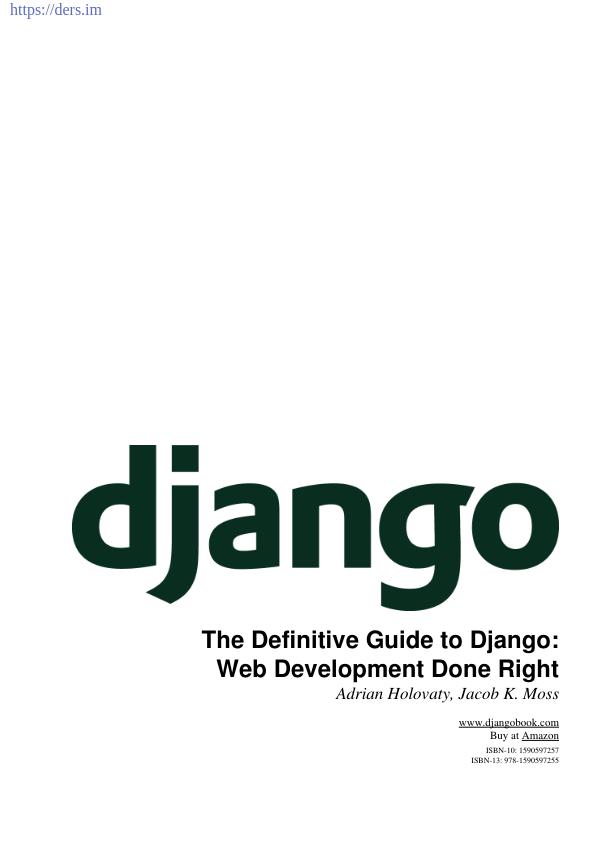 Django İle Web Programlama Notu