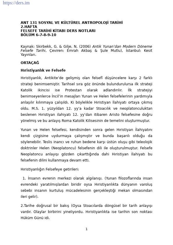 Sosyal ve Kültürel Antropoloji Tarihi Ders Notları - 2