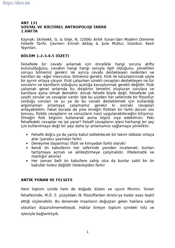 Sosyal ve Kültürel Antropoloji Tarihi Ders Notları - 1