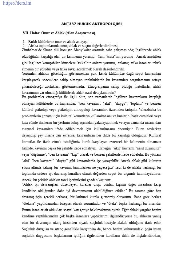 DİL VE TARİH - COĞRAFYA FAKÜLTESİ / ANTROPOLOJİ BÖLÜMÜ / SOSYAL ANTROPOLOJİ ANABİLİM DALI / ANT337 Hukuk Antropolojisi Ders Notları
