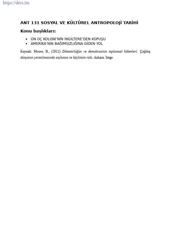 Sosyal ve Kültürel Antropoloji Tarihi Ders Notları - 10