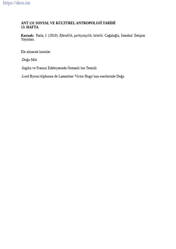 Sosyal ve Kültürel Antropoloji Tarihi Ders Notları - 13