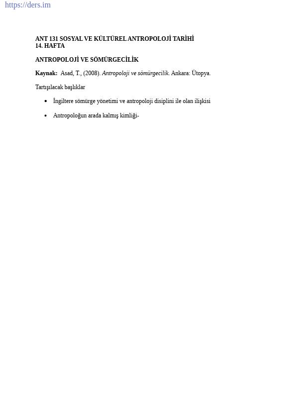 Sosyal ve Kültürel Antropoloji Tarihi Ders Notları - 14