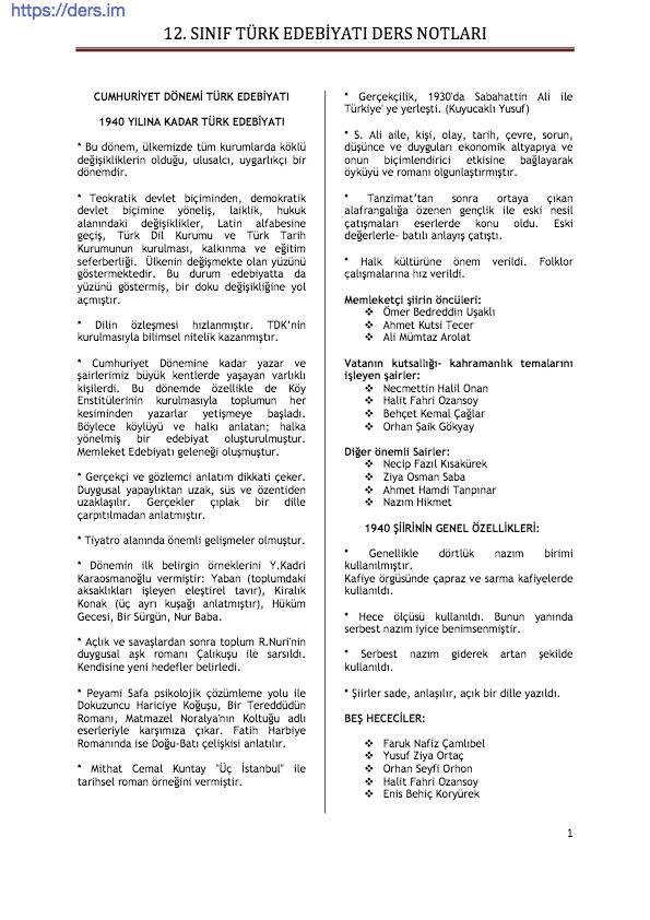 Türk Dili Ve Edebiyatı Ders Notu 12. Sınıf