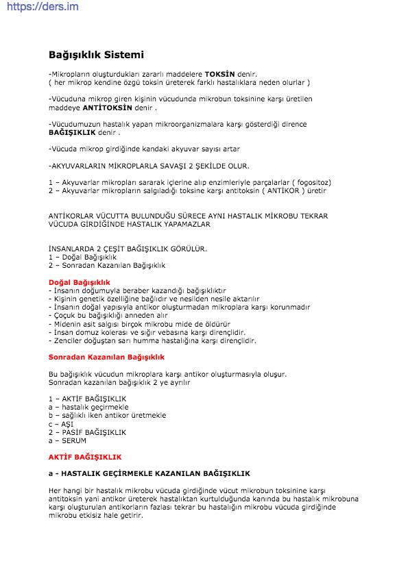 Bağışıklık Sistemi Ders Notu - 12 Sınıf Biyoloji