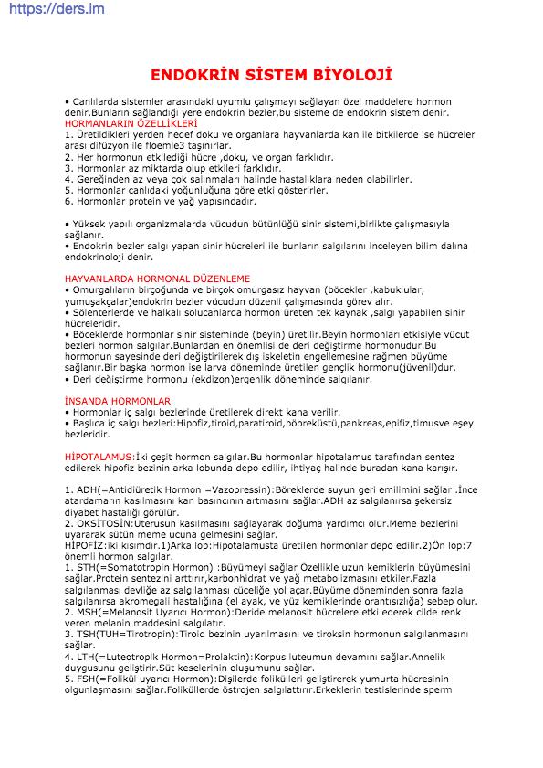 Endokrin Sistem Ders Notu - 12. Sınıf Biyoloji
