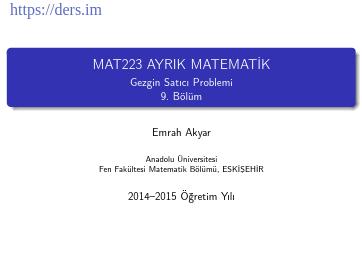 Ders Notu - Emrah Akyar