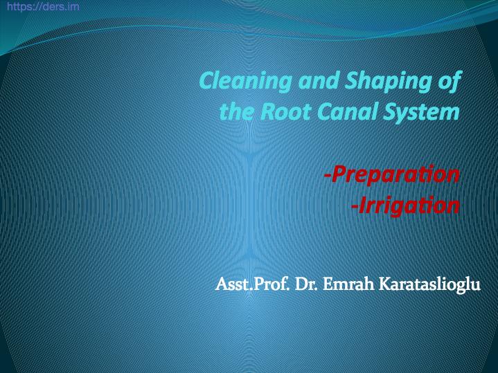 Diş Hekimliği Fakültesi / Endodonti / Temizlik ve Şekillendirme  Kök Kanal Sistemi Ders Notları