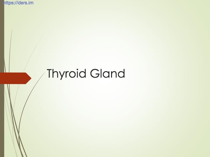 Diş Hekimliği Fakültesi / Fizyoloji / Tiroid Bezi Ders Notları