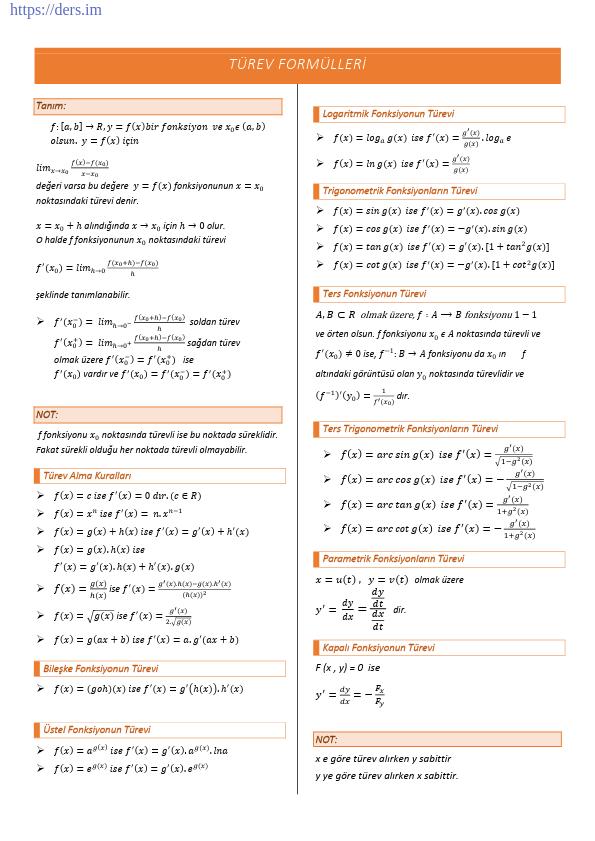 Türev Formülleri Ders Notu PDF