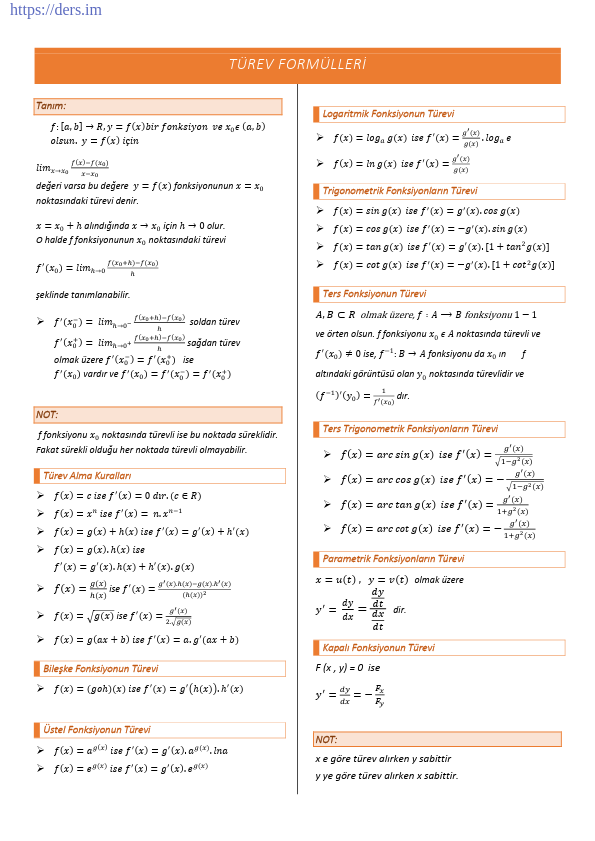 Matematik Türev Formülleri Ders Notu PDF
