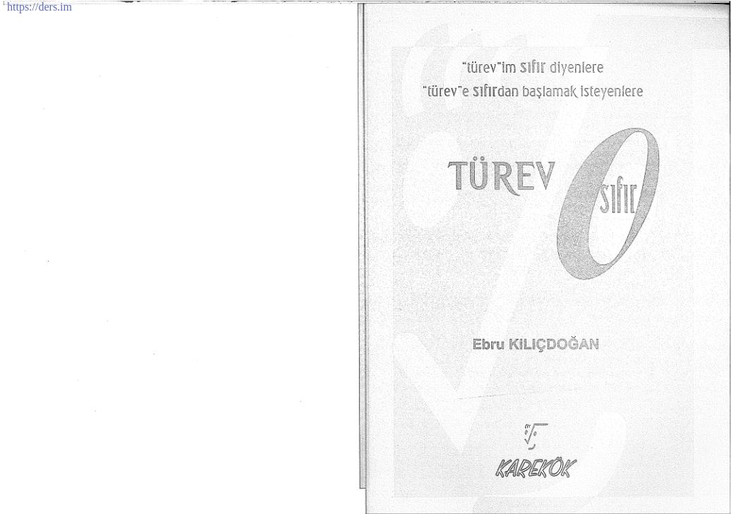 Türev Konu Anlatımı Karekök Ders Notu PDF